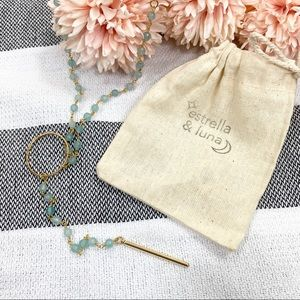 Estrella & Luna Jewelry - Estrella & Luna Aqua Jade Rosary Bar Pendant